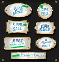 Retro vintage black and gold badges and labels collection