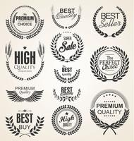 Retro vintage golden laurel wreaths sale collection vector