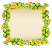 Border of leaves and yellow flowers vector