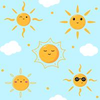 Lindo sol emoticon vector