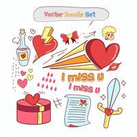 Día de San Valentín Doodle conjunto de vectores