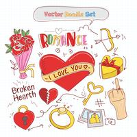 Vettore stabilito di Doodle di giorno di biglietti di S. Valentino