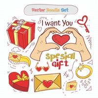 Valentinsgruß-Tagesgekritzel-gesetzter Vektor