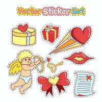 Valentijnsdag sticker patches in doodle stijl. Vector illustratie