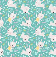 Childish seamless pattern with rabbits and butterflies