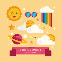 Sun clipart set vector