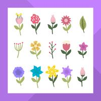 Flat Modern Flower Clipart Collection