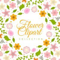Platt färgstarka blommor Clipart Collection