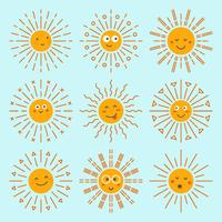 Emoticon Sun Collection Vecteur
