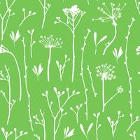 Vector seamless pattern with silhouettes of flowers and grass