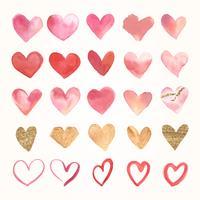 Valentijnsdag aquarel hart pictogrammen