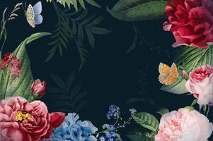 Ilustración de marco floral acuarela