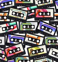 Seamless pattern with old audio cassettes colorful background