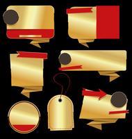 Coleção de ilustração vetorial retrô distintivo dourado