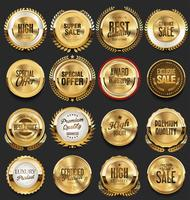 Retro golden badge vector illustration collection