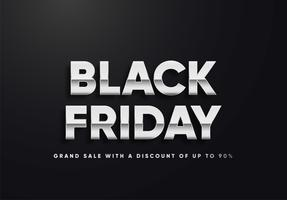 Black Friday silver letters vector illustration