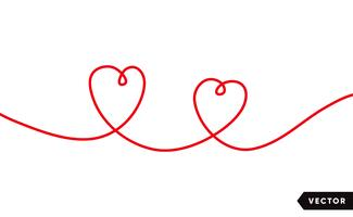 Continuous one line drawing of red heart isolated on white background. Vector illustration