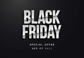 Black Friday-zilveren brieven vectorillustratie