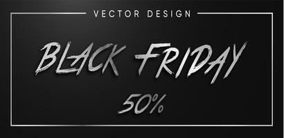 Black Friday-zilveren brieven vectorillustratie