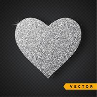 Vectorzilver fonkelt hart. Valentijnsdag Vector Sparkles en glitters. Vakantie ontwerp.