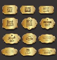Gouden retro labels badges frames en linten collectie
