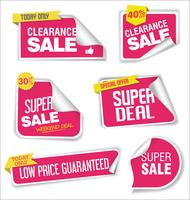 Collection of sale stickers with rounded corners