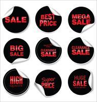 Zwarte verkoop stickers vector illustratie collectie