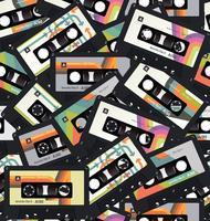 Retro vintage cassette tape seamless background vector