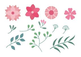 Flower Clipart Set Vector Illustration