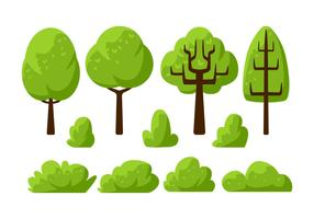 Tree Clipart Set Vector Illustration