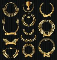 Collection of laurel wreath retro vintage vector illustration