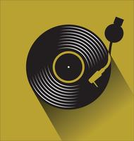Disco de vinil preto gravar ilustração em vetor plana conceito