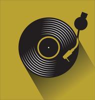 Konzept-Vektorillustration der schwarzen Vinylrekordplatte flache