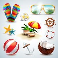 Vector Summer Holiday Icon set on clear background.