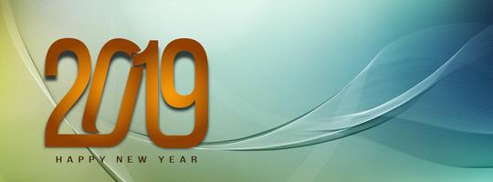 Abstract New Year 2019 stylish banner template