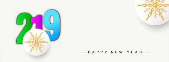 Plantilla de banner decorativo feliz año nuevo 2019