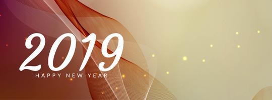 Plantilla de banner elegante feliz año nuevo 2019