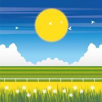 Vector prachtige lente landschap illustratie