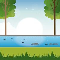 Vector lente landschap illustratie