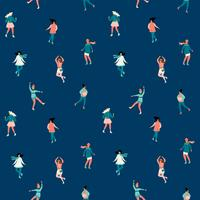 Vector seamless pattern with women skate. Trendy retro style.