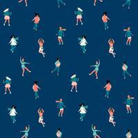 Vektor sömlöst mönster med kvinnor skate. Trendig retrostil.
