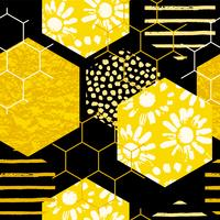 Seamless geometriska mönster med honungskaka. Trendiga handdragen texturer.