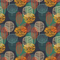 Abstract autumn seamless pattern with trees. Vector background for various surface.