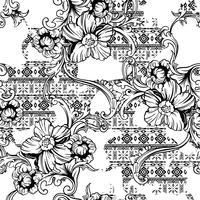 Padrão sem emenda de tecido eclético. Origem étnica com ornamento barroco.