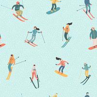 Illustration vectorielle des skieurs et des snowboarders. Modèle sans couture.