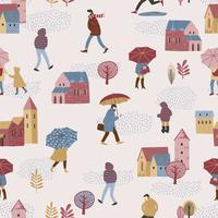 Vector illustration of city in the rain. Autumn mood.