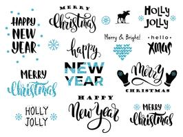 Merry Christmas and Happy New Year. Vector lettering calligraphy
