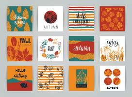 Set of artistic creative autumn cards.