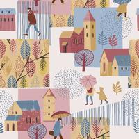 Ilustração do vetor da cidade na chuva. Humor de outono. Padrão sem emenda