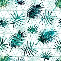 Modelo exótico inconsútil con las hojas de palma tropicales en fondo geométrico.